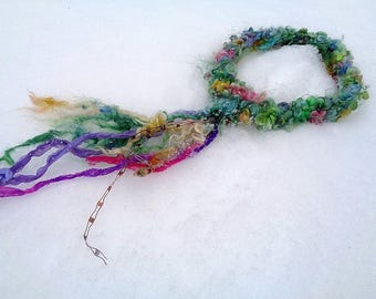 rustic hand knit artyarn wool flower headband -   spring flower faerie crown