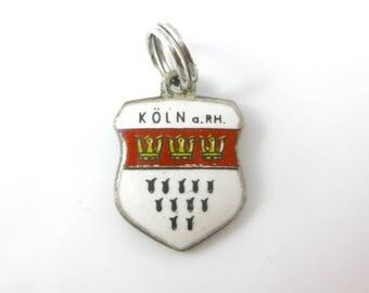 Charm, 800 Silver, Enamel, Koln, Coat of Arms, Red & White, Silver Traveler Shield Charm