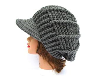 Gray Newsboy Hat - Crochet Cap - Women's Hat With Brim - Brimmed Beanie - Visor Hat - Crochet Accessories
