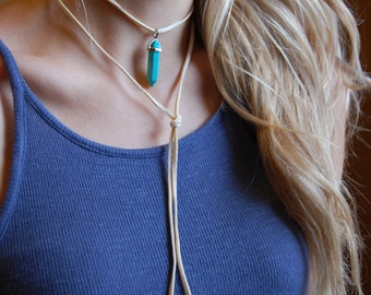Choose your color. Cream Suede Cord Bolo Necklace. Double Wrapped Choker with Crystal Point Pendant. You