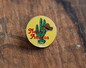 Vintage Southwestern Enamel Pin. Cactus Pin. Neil's Amigos 1980's hard lapel pin.