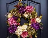 Front Porch Wreaths, Hydrangea Wreaths, Spring Door Wreaths, Spring Wreaths, Summer Wreaths, Wreaths for Spring, Pink Hydrangea Wreath