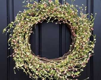 SALE EASTER Wreaths, Spring Pastel Berry Wreaths, Easter Decorations, Spring Wreaths, Easter Wreath for Door, Easter Welcome Wreaths