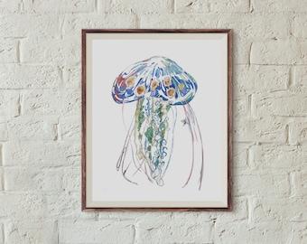 Jellyfish Beach Art Print // Blue Sea Life Ocean Shore Water Creatures Wall Art  // 13 x 19, 11 x 14, 8 x 10