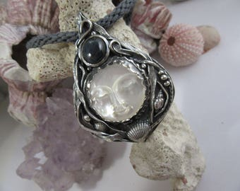 Moon Goddess Mother of Pearl  Silver and Sapphire Pendant With Sterling Silver Chain OOAK By Leaping Frog Designs