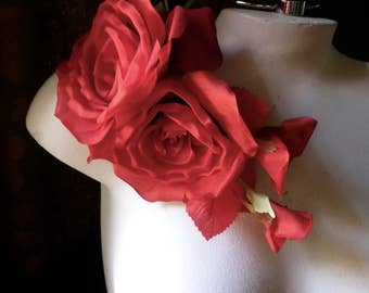 RED Silk ROSE Millinery Corsage for Bridal, Millinery MF 118