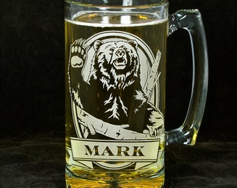 Personalized Bear & Beer Stein, Present Gift for Groomsman Beer Mug, Grizzly Bear