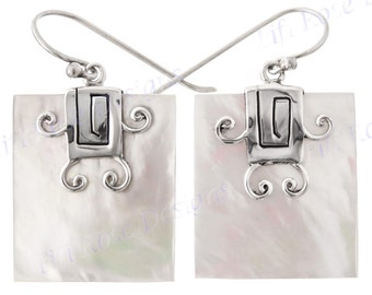 """1"""" White Mother Of Pearl Shell 925 Sterling Silver Earrings"""