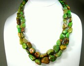 Vintage Turquoise Stone Nugget Necklace , 2 Gorgeous Colored Strands of  Green Brown Tan , Extender chain in Silver Recently Added, 1990s