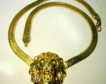 Gold Leo Lion Head Focal on Flat Gold Omega Chain Necklace, Heraldic Renaissance Thrones Game, Classic Medieval  Style