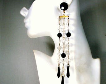 7 Inch Long Dangle Bead Earrings, Black Clear Bead Chain Shoulder Dusters, WOW
