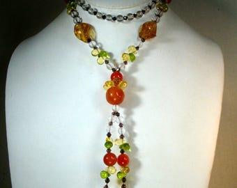Pretty Glass Long Tassel Necklace OOAK, Orange, Green, Clear n Black, All Glass Beads by Rachelle Starr
