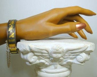 Damascene Gold and Black Bracelet,  1980s Bird and Floral Classical Motif, Safety Chain