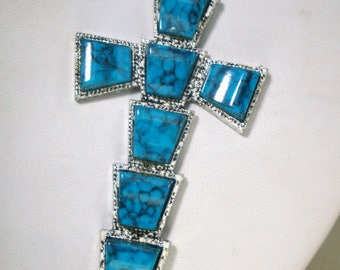 Native American Style Christian Cross Pendant, Chain, Turquoise Cabs on Silver, Religious SouthWestern Tribal Classic, 1980s