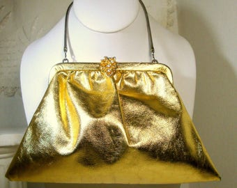Gold Metallic Clutch Bag, Wedding Prom Disco 1960s Purse, Peach Fabric Lining, Wrist Chain, Party On Gurllll