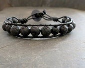 Black Beaded Bracelet Black Diffuser Jewelry Leather Wrap Bracelet Unisex Aromatherapy Lava Stone Men's Bracelet Edgy Jewelry Biker Rocker
