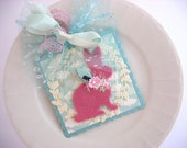 Shabby Chic Spring Summer Bunny Art Gift Tag~arty square hang tags~baby shower tag~Easter tag~velvet rabbit~Easter Bunny