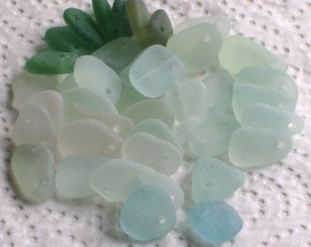 40 Small Sea Glass Dangles Top Drilled 1.5mm holes Imperfections Supplies (1980)