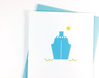 Bon Voyage Card Miss You Card Travel Greeting Card Cruise Ship Going Away Party Farewell Card Travel Card Thinking of You Card Goodbye Card
