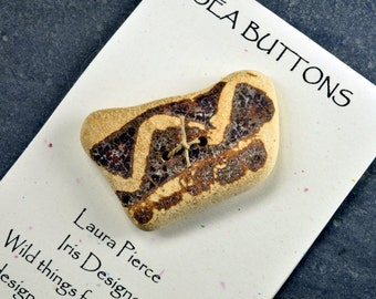 Zig zag      a large rectangular shaped brown and tan genuine Maine sea / beach pottery shard button ecochic natural embellishment