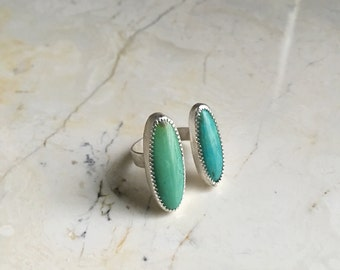 Double stone Turquoise Ring. Nevada Mined. Size 7. Tall Oval Stones. Two stone Ring. Statement Ring. US turquoise. Green turquiose. Boho.