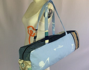 Yoga bag, blue patchwork.