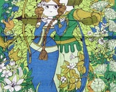 "Vintage70s Robin Hood Maid Marian in Love Embrace Green Blue Brown Print Tea towel / 30"" x 20"" Pure Linen OXFAM"