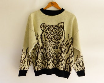 80s Oversized Sweater with Tiger Face Cream & Black with Copper Metallic