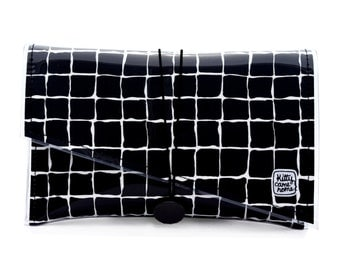 Super Clutch - Black and white grid cotton sateen fabric