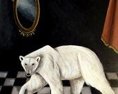 Polar Bear painting Contemporary realism Arctic Charm 12x16 original painting vintage