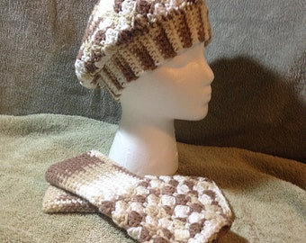 Crocheted Slouchy Beret and matching Fingerless Mitts