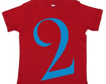 2nd Birthday T shirt Boys Second Birthday Shirt by Mumsy Goose  Number Two Shirts Any Age Birthday Shirt