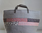 Natural Beige Quilted Market Tote Bag - READY TO SHIP