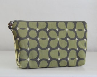 Sage Flourish Wide Padded Zipper Pouch Gadget Case Cosmetics Bag - READY TO SHIP