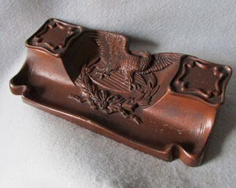 Antique Bald Eagle, Patriotic Cast Iron Inkwell,  Desk Writing Accessory