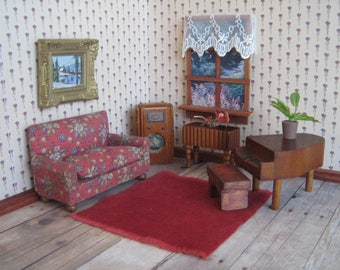 Vintage KAGE Dollhouse Furniture - Five Piece Living Room Set -Sofa, Radio, Planter, Piano and Bench in 3/4 Scale