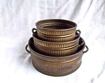 Vintage Brass Nesting Bowl Planters Storage Set Vintage Home and Living Vintage Home Decor Vintage Display Brass Pot Set Vintage Floral Pots