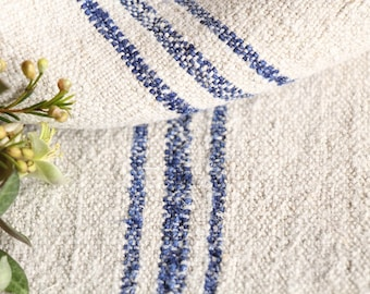 B 922 antique grain sack BRIGHT BLUE upholstery fabric 42.52 long french 리넨 lin wedding tablerunner grainsack