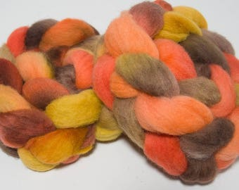 Hand dyed roving, Cheviot, 100g, hand painted tops, felting fibre, fiber, spinning wool, orange , yellow, Scorched  Earth