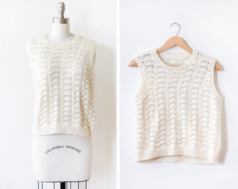 knit tank top,  70s ivory crochet sweater, white pointelle 1970s vest, medium m
