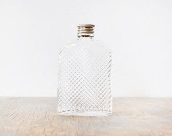 small glass flask, vintage 20s hip flask, 1927 universal art deco glass hip flask
