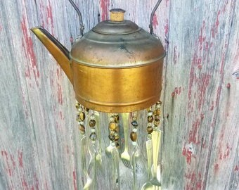 Vintage Copper Teapot Silverware Windchime Garden Porch Decor Housewarming Gift Spoon Chime