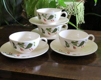 Salem Primrose Cups and Saucers Set of 4, Vintage Dinnerware, White with Red Flowers, Green Leaves Foliage, 1950s Tea Coffee Cup