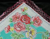 "Vintage 1940's 12"" Crochet Trim Pink, Teal Blue, Yellow Floral Wedding Favor, Banner, Pocket Square Handkerchief - 9848"