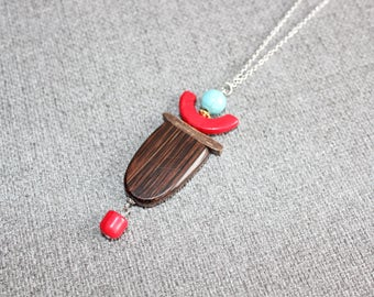 bijoux mode, collier long, bijoux fantaisie, chaine acier inoxydable, rouge, turquoise, bois, tribal, inutchuk, long necklace, nature