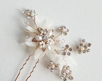 Wedding Hair Pin, Gold Bridal Hair Pin, Flower Hair Pin, Pearl Crystal Hair Pin, Wedding Hair Accessory