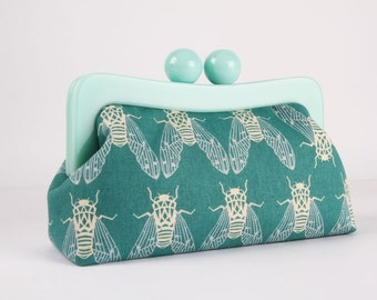 Resin frame clutch bag - Cicada in teal - Awesome purse / Mint green frame / Japanese fabric / neon green blue insect / Cotton and Steel