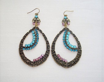 Gold Tone Multicolor Rhinestones Dangle Earrings
