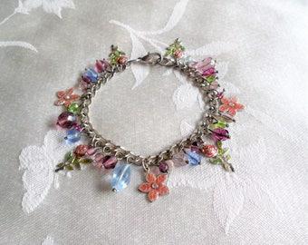 Gorgeous Beaded Floral Charms Silver Tone Multi Color Bracelet