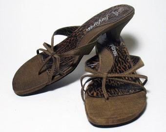 Vintage Copper Linen Slip On Womens Sandals Heels Sze. 6.5 FanFare